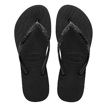 Havaianas Slim Glitter Flip Flops - Black