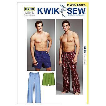 Kwik Sew Sewing Pattern 3793 Mens Nightwear Sleep Pants Shorts Size S-XXL