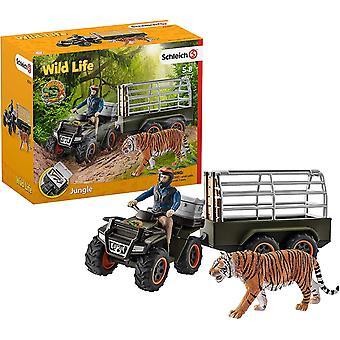 HanFei 42351 Wild Life Spielset - Quad mit Anhnger und Ranger, Spielzeug ab 3 Jahren