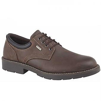IMAC Eugene Mens Leather Derby Shoes Dark Brown