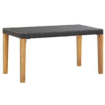 vidaXL garden bench 120 cm black poly rattan and solid wood acacia