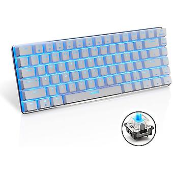 AK33 mekanisk tastatur - bakgrunnsbelyst - kablet USB-tastatur - blå brytere - for kontor, skriving og spill (blå bryter) (hvit)