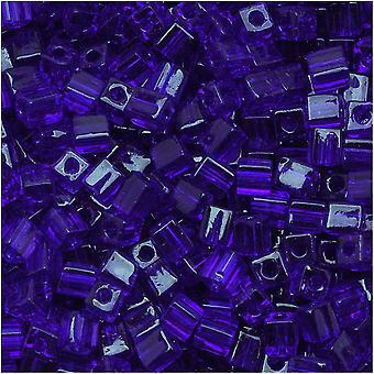 Miyuki 4mm Glas kub pärlor Transparent Kobolt Blå 151 10 Gram