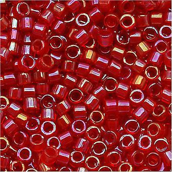 Perline di semi Miyuki Delica, taglia 11/0, 7,2 grammi, rosso foderato rosso AB DB295