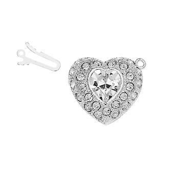 Elegant Elements, 1-Strand Heart Shaped Box Clasp with Swarovski Crystals 22mm, Rhodium Plated