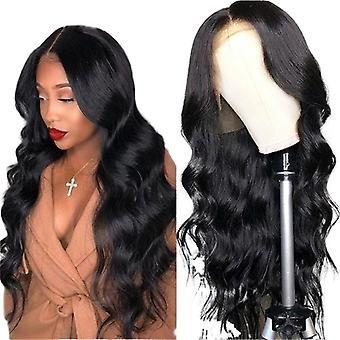 Женщины парик средней длины длинные вьющиеся волосы черный большой волной головной убой w96