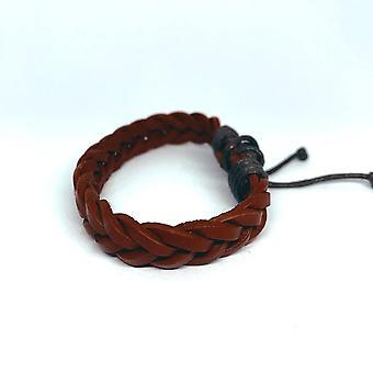 Bracelet tressé fait à la main en cuir marron avec nœud