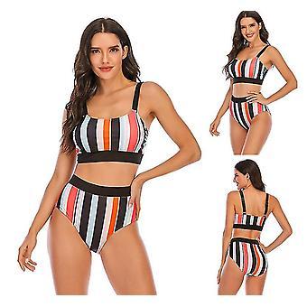 Tytön uimapuku bikinit raidallinen seksikäs selkätön plus koko uimapuvut lomalle