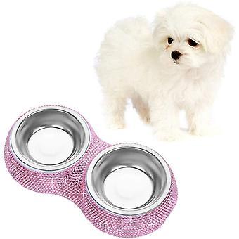 Bling Strass Haustier Hundefutter Hunde Fressnapf Wasser Futterspender Schüssel Doppelgebrauch
