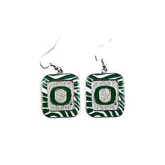 Oregon Ducks NCAA Zebra Style Dangle Earrings