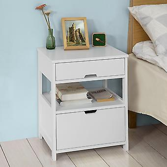 SoBuy Home Wood Bedside Table with 2 Drawers,White,FRG258-W