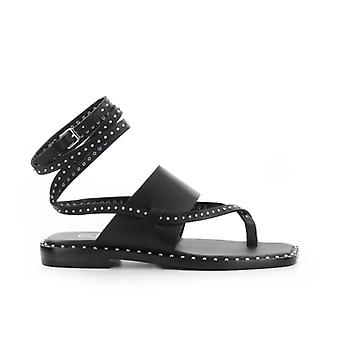 Ash Medusa Studs Black Flat Sandal
