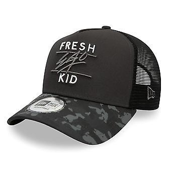 Fresh Ego Kid | Fek-588 New Era Mesh Camo Visor Trucker Cap - Black