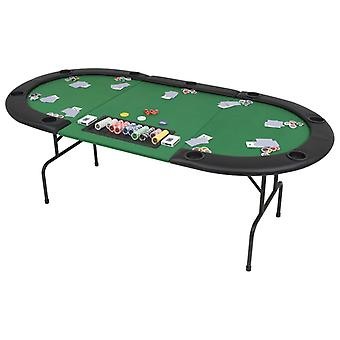 Mesa de póquer para 9 jugadores ovalada verde plegable de 3 pliegues