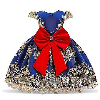 90Cm blau Kinder formale Kleidung elegante Partei Pailletten Tutu Taufe Kleid Hochzeit Geburtstagskleider für Mädchen fa1758