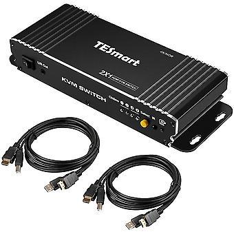 2 Port HDMI KVM Switch 4K 3840x2160@60Hz 4:4:4 mit Tastatur und Maus Pass-Through 2 Stück 1,5m KVM