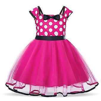 Meninas do desenho animado polka dot vestido princesa festa tutu saia rosa vermelho tamanho 110