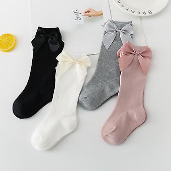 Baby Mädchen Socken Neue Kleinkinder Mädchen Big Bow Knie Hoch Lange Weiche Kinder Socken Bowknot 100% Baumwolle 0-3 Jahre Neugeborene Socken