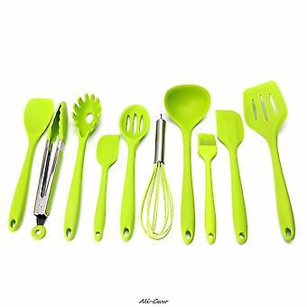10Pcs/Set Green Heat Resitant Non Stick Silicone Kitchen Utensils Set Cooking Bake|Cooking Tool Sets