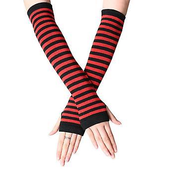 (Schwarz & Rot) Frauen Dehnbarer Ellbogen Fingerlos Lange Handschuhe Gestreifter Arm Handgelenk Wärmer Fäustlinge