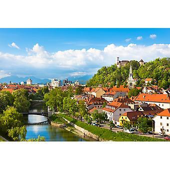 Veggmaleri Slovensk hovedstad Ljubljana ved solnedgang