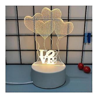 الإبداعية ليلة الخفيفة 3D رومانسية فتاة اعتراف هدية صافي ليلة حمراء الخفيفة