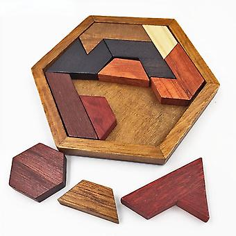 12cm Children's Wooden Puzzles, Geometric Shape Games, Early Education Toys-a