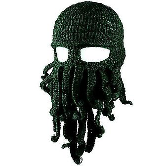 Octopus Hat drôle masqué fait à la main crocheté chapeau chaud(Vert foncé)