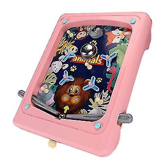Creative Children's Pinball Game Cartoon Handheld Game Machine Maze Ejection Score Machine(Pink)