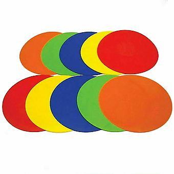 ערכת קונוסים של תקליטורי כתמי רצף שטוח של 10 סמנים שטוחים של גומי צבעוני