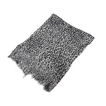 Zwart en grijs metalen Leopard Print lichtgewicht Poncho