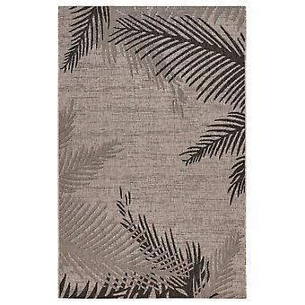 5' x 7' Beige Palm Leaves Indoor Outdoor Area Rug