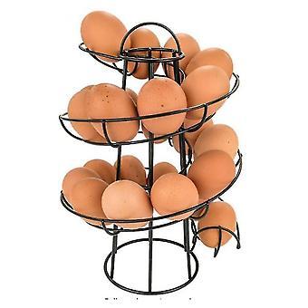 Household storage containers homemiyn spiral design metal egg skelter dispenser rack  egg storage display rack 24x20x20cm black