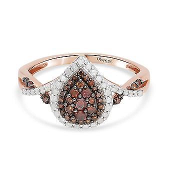 TJC Red Diamond Halo Ring Rose Gold bevonatú ezüst fehér gyémánttal 1.69ct(P)