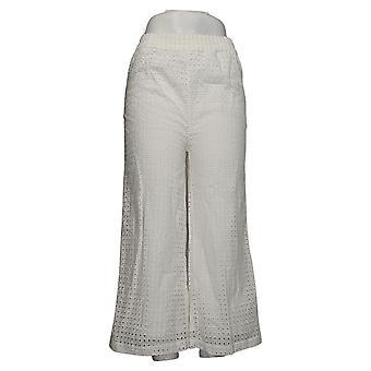 WynneLayers By Marla Wynne Women's Plus Pants Eyelet Pull-On White 694646