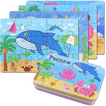 4-teilige Puzzleblöcke-Unterwasserwelt