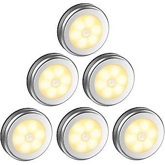 Led Closet Lampe / armoire, 6pcs Lampes Armoire Veilleuse, Led Détecteur de mouvement d'éclairage, argent Lumière chaude