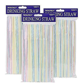 Одноразовые гибкие пластиковые соломинки полосатые