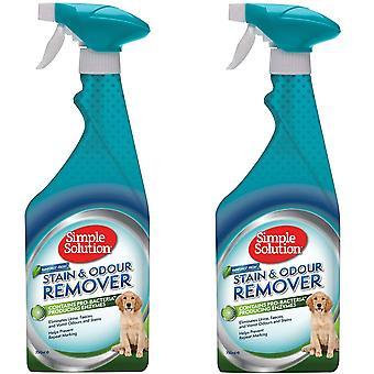 2 x 750ml Haustier Flecken- und Geruchsentferner Spray mit Pro-Bakterien Reinigungskraft | Regenwald Frisch