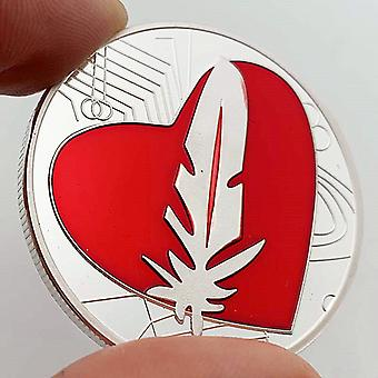 Federmünze Liebe Herzförmige Gedenkmünze Sammlung Handwerk Münze Goldmünze Valentinstag Geschenk