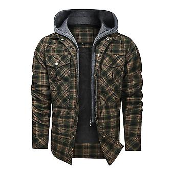 Mile Men's Hooded Quilted Lined Flannel Shirt Jacket Long Sleeve Plaid Button Up Jackets