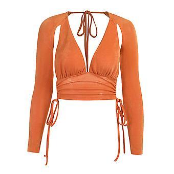 Sexy Slim V-neck Halter Top Women's Clothing