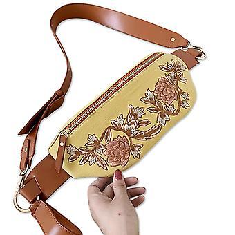brodert blomst lerret midje fanny pakke pose crossbody veske for kvinner