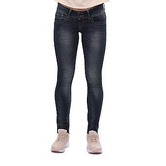 blå hvit kvinners baklomme glidelås jeans