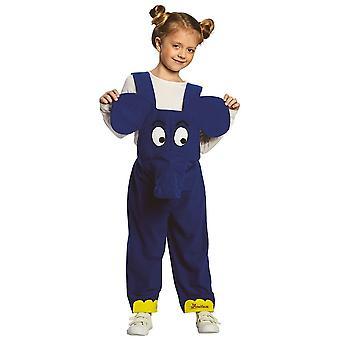 Elephant kostym visar med mus blå Haklapp barnen