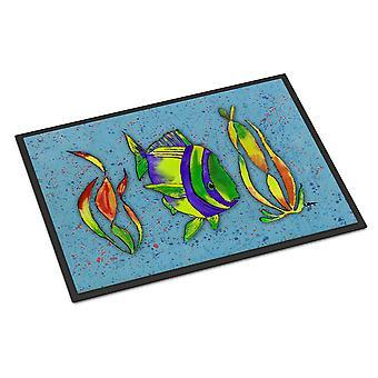 Carolines Treasures  8570MAT Tropical Fish on Blue Indoor or Outdoor Mat 18x27