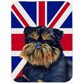 Brussels Griffon with English Union Jack British Flag Glass Cutting Board Large