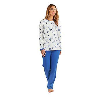 Slenderella PJ8137 女性の花の青いパジャマ長袖パジャマ セット