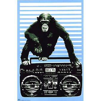 Monkey Boom Box affiche Poster Print par Steez