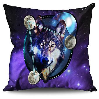 Galaxy Space Wolf Linen Cushion 30cm x 30cm | Wellcoda
